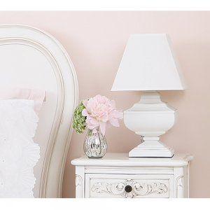 Squat Shabby Chic Lamp   French Bedroom Lighting   White Shabby Chic French  Bedroom Lamp