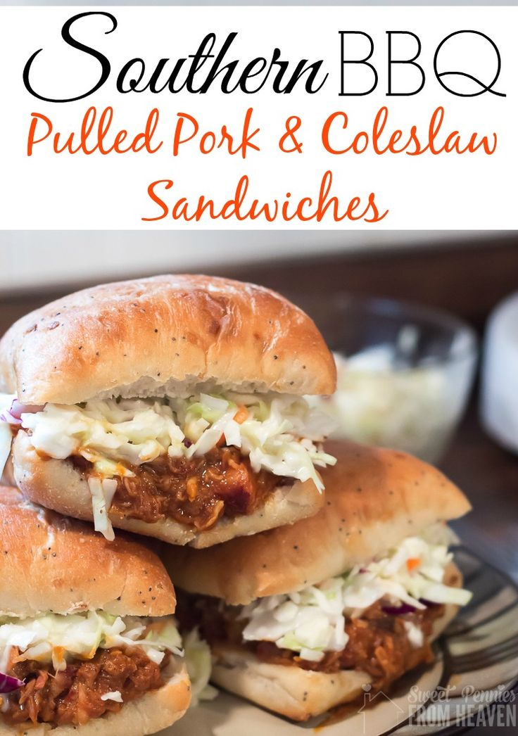 Southern Bbq Pulled Pork And Coleslaw Sandwiches