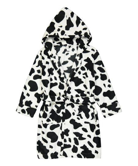 Leveret Black Cow Fleece Hooded Robe - Toddler & Kids | zulily