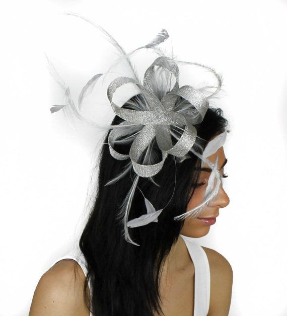Metalic Silver Fascinator Hat for Kentucky Derby, Weddings and Christmas Parties on a Headband