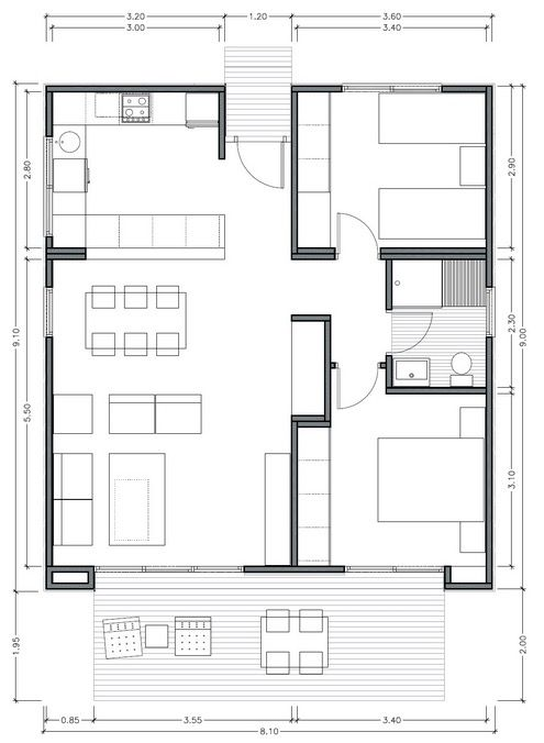 Plano de casa moderna de 75m2 con 2 dormitorios