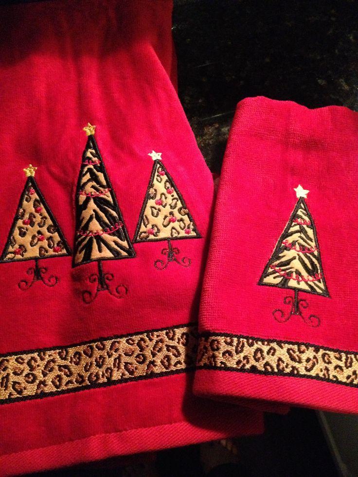 Leopard Print Christmas Towels Leopard Print Christmas
