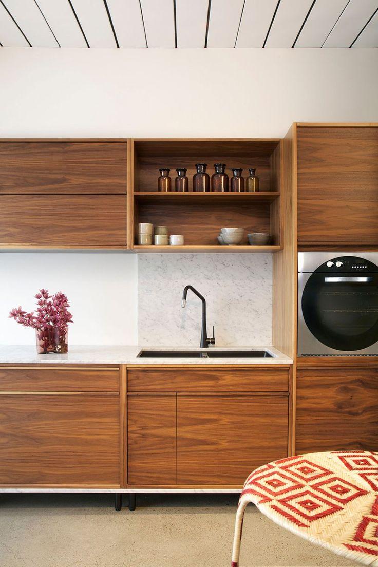 wood cabinets minimal modern kitchen