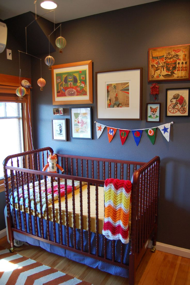 Same crib I want for a boy, green walls, that color blue dresser and changing table
