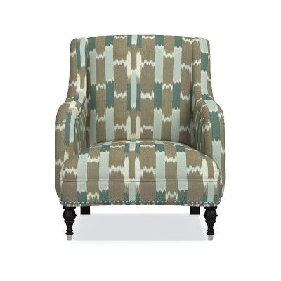 Simone Chair, Acoustic Wave, Solid, Driftwood, Polished Nickel
