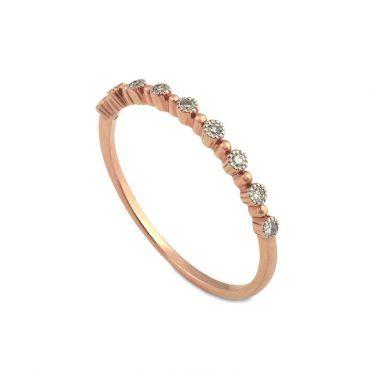 Μοντέρνο λεπτό δαχτυλίδι Κ14 από ροζ χρυσό με 9 διαμάντια και μικρές μπίλιες περιμετρικά   Μοντέρνα δαχτυλίδια ΤΣΑΛΔΑΡΗΣ στο Χαλάνδρι #δαχτυλιδι #διαμαντια #μπιλιες #ροζ #χρυσο