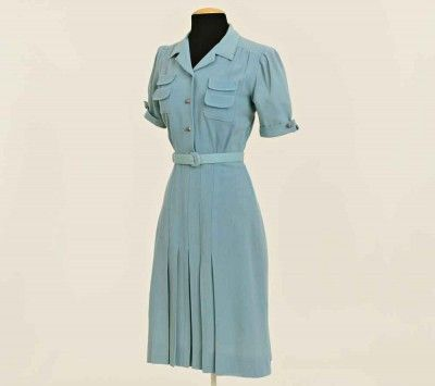 Rationing-to-Ravishing---Fashion-from-the-1940s-to-the-1950s - Nan Taylor Blue Dress - 1940's