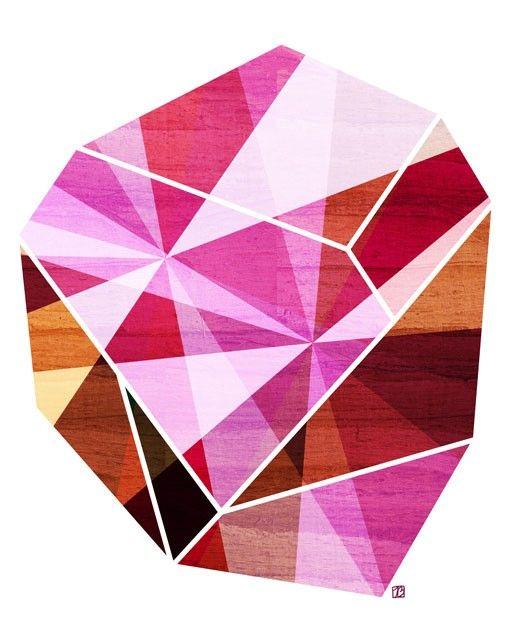 Amethyst, (Geometric Facet)  Art Print