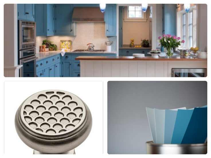 We love bright #blue tones paired with #Baldwin cabinet hardware in this traditional #kitchen.