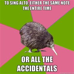 Choir Kiwi - TO SING ALTO: Either the same note the entire time OR ALL THE ACCIDENTALS