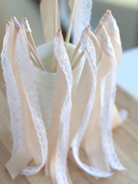DIY Ribbon Wedding Wands might be cute for send off since we'll be inside!!