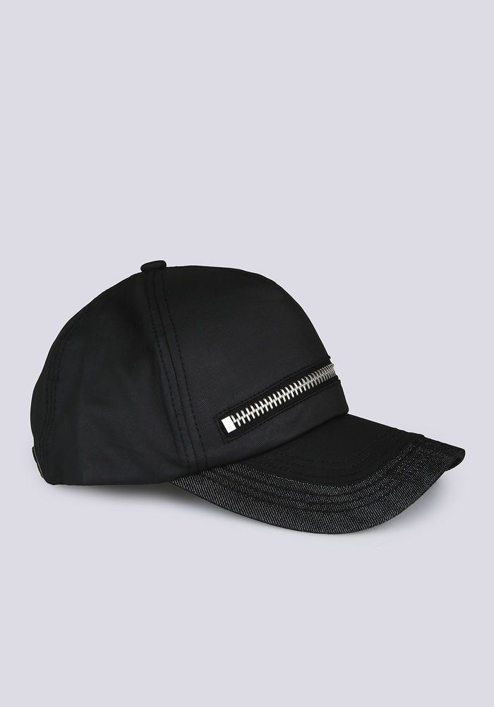 Coated cotton baseball cap with zip detail