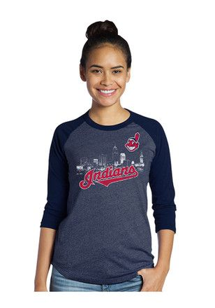 Cleveland Indians Womens Skyline Navy Blue T-Shirt