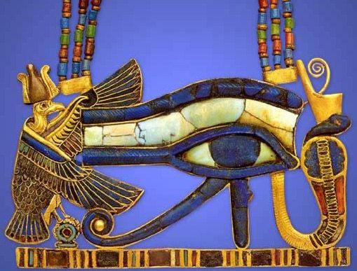 An ancient Egyptian gold, lapis lazuli, turquoise, faience and glass pectoral found into the mummy of Tutankhamun; at the centre is a wedjat/eye of Horus, a symbol of wholeness and protection; flanking it are Nekhbet, the vulture goddess of Upper Egypt, and Wadjet, the cobra goddess of Lower Egypt.