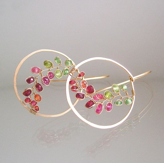 Gold Hoop Earrings Pink and Green Gemstone 14k Gold Filled