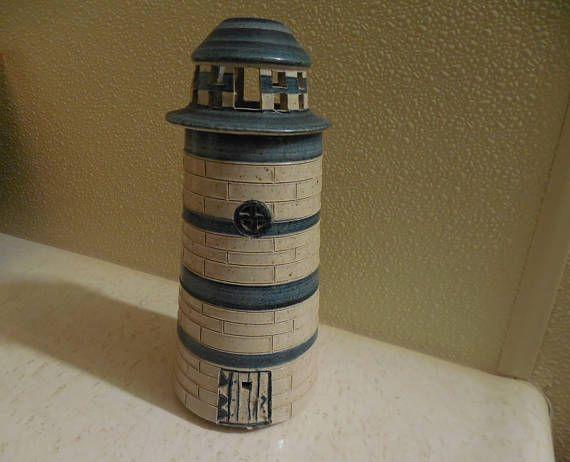 lighthouse lamp sterno lamp tea candle lighthouse ceramic lighthouse handmade pottery lighthouse lamp tea light pottery
