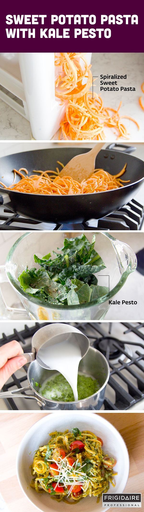 This delicious weeknight dinner recipe from @jenloveskev is so rich and creamy. Spiralized sweet potato (noodles) and blended hemp seed and kale (pesto sauce) are the key ingredients to make this healthy pasta dish. Click for full recipe.