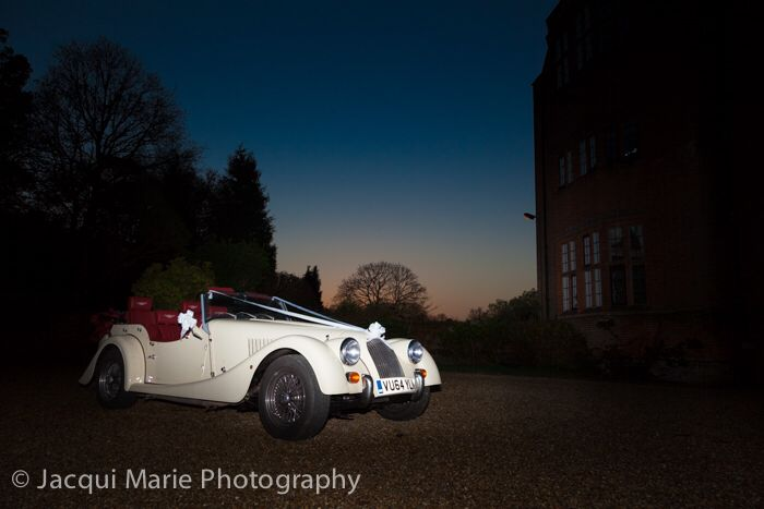 Amazing Morgan wedding car at New Place, Hampshire photographed by Hampshire wedding photographers Jacqui Marie Photography. VISIT http://jacqui-marie-photography.co.uk for details.