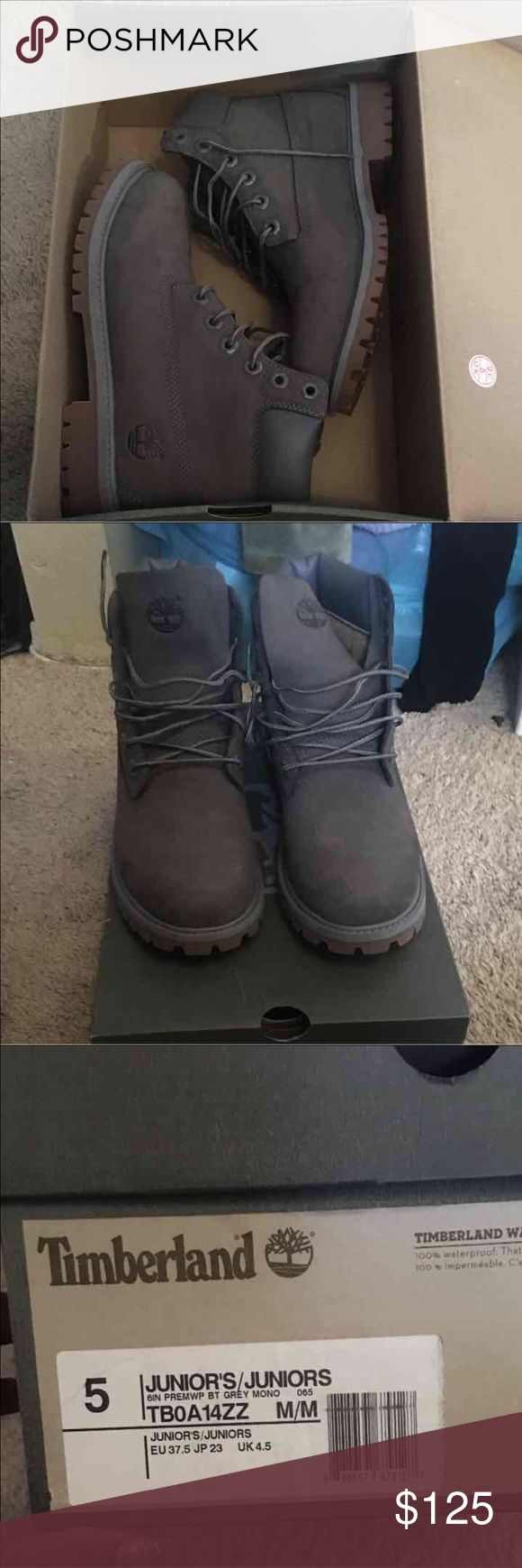 Grey Timberland Boots Brand new. Never worn out, just tried on. Size 5 in boys. Price negotiable. Timberland Shoes Boots
