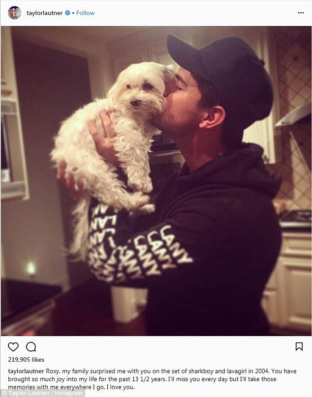 RIP: The Twilight star shared the heartbreaking news of Roxy's passing on Instagram on Friday, as a caption on a sweet picture of the 26-year-old smooching the cute puppy