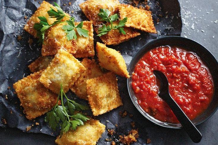 Crisp-fried cheese ravioli
