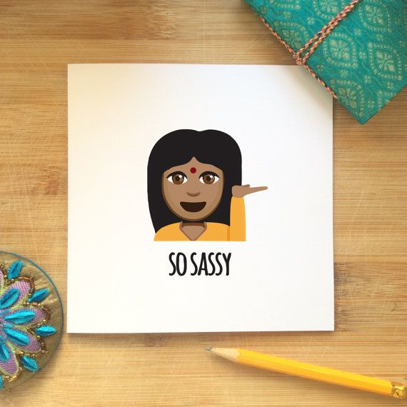 Blank Card  Indian girl emoji So Sassy Happy by KushiyaDesigns