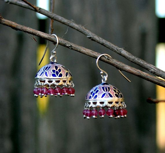 Traditional  chandelier style earrings with delicate floral pattern hand painted with light pink and deep blue enamel. Tiny pink glass beads hanging from the rim add to its charm. This pair is light weight and completely hand crafted.  Dimensions : Approx 3 cm long and dome shape is 2 cm wide.  This exquisite pair of earring has been handcrafted by artisans in Jaipur, India.