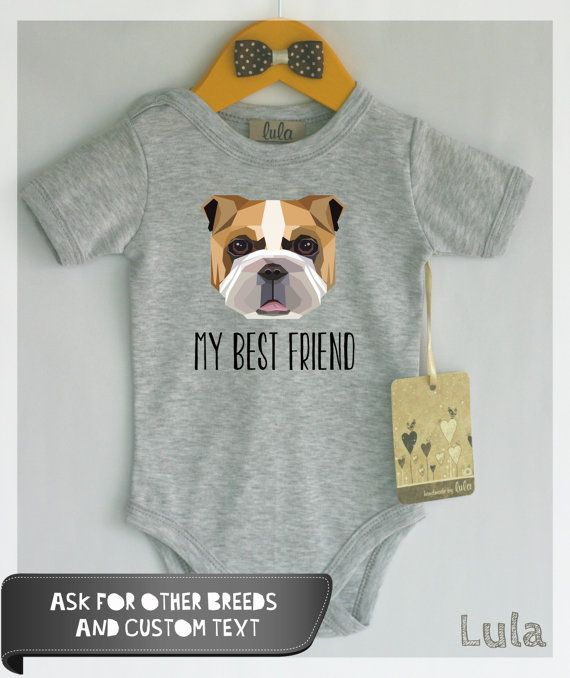 Bulldog baby clothes. Dog baby best friend by HandmadeByLula | Beautiful Cases For Girls
