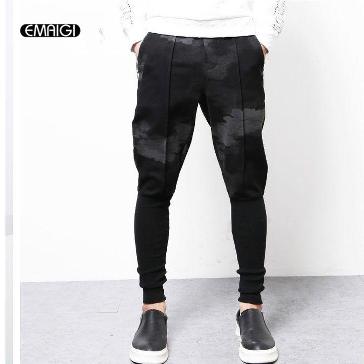 Male Harem Pants Street Fashion Casual Pants Men Printing Splice Jogger Trousers High Quality Brand Sweatpants