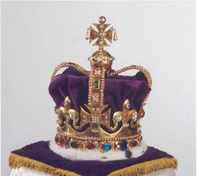 The British Crown Jewels - St Edward's Crown made for the Coronation of Charles II in 1661.   It is used to crown the Sovereign during the Coronation ceremony and is made of gold and decorated with about 440 precious and semi-precious stones. It weighs a substantial 5lbs 8oz.