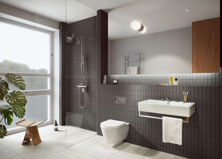 Oscar Properties #oscarproperties  Stockholm, Zootomiska, Lyceum, black, bathroom, mirror, view, plant, flower, shower , interior, design