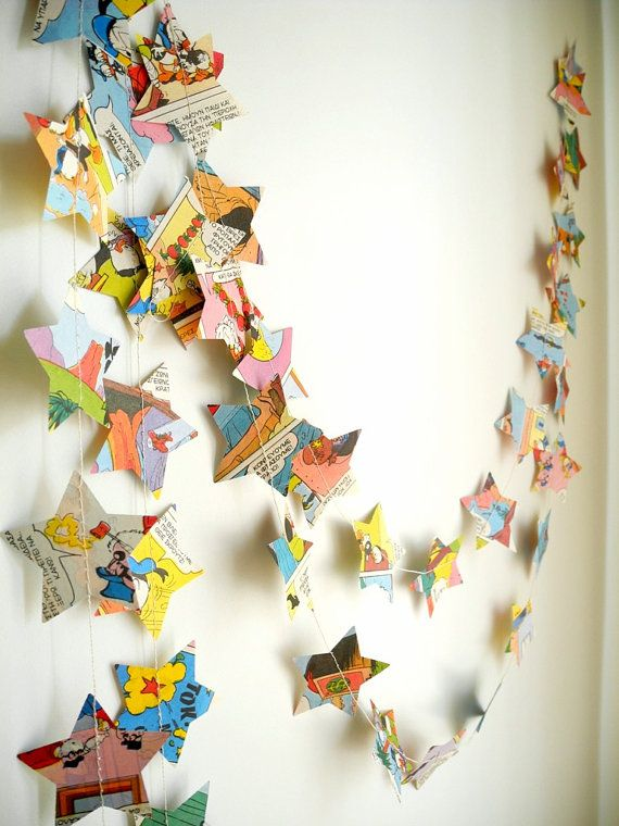 Comic Book Star Paper Garland Childrens Book Page by HoopsyDaisies, $11.00