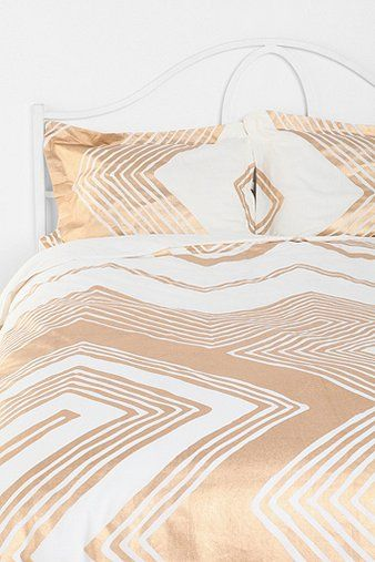 Gold + White Chevron Bedding. LOVE!