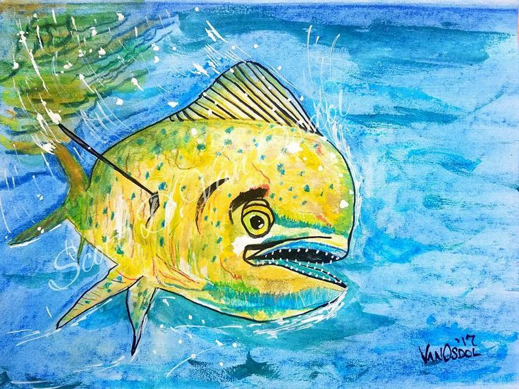 Mahi Mahi Dorado Fishing Fish Realism Original Pastel Sketched ART SDV Coastal #Realism
