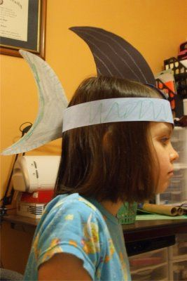 """Shark Hat. Use for the child who's it during game of """"Balloon Buried Treasure""""."""