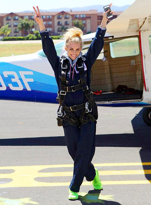 AnnaLynne McCord skydiving for charity, 16th of August