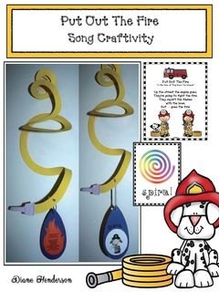 """Fire Safety Activities: Fire Safety Crafts: Students cut on a spiral to make a fire hose! Too cute. Packet includes a """"Put Out the Fire"""" song, plus 2 spiral posters, so you can take advantage of that teachable moment to build vocabulary."""