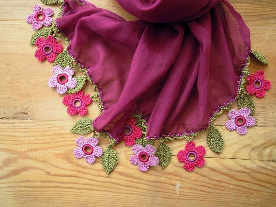 cotton scarf with crochet flowers burgundy pink by PashaBodrum