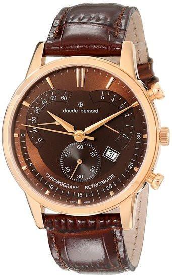 Claude Bernard 01506 37R BRIR Men's Watch Brown Sunray Dial Chronograph Retrograde Swiss Made