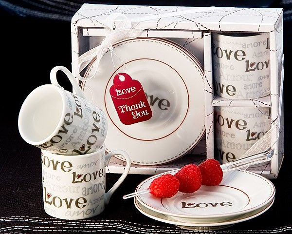 """""""Language of Love"""" Espresso Cup Favor Set (Set of 2) #coffee #cup #party #wedding #favors #love #valentinesday"""