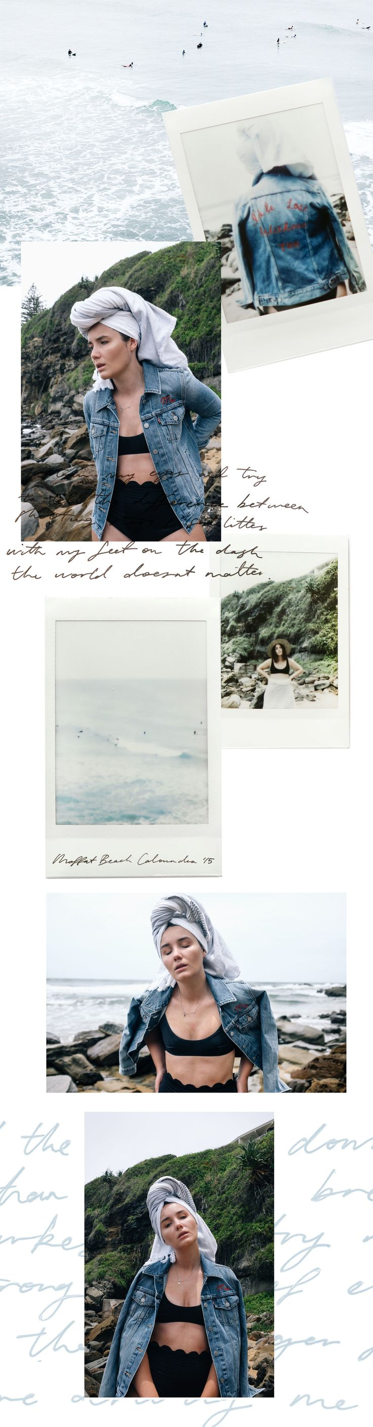 """LOVE the """"polaroids""""  color scheme feels clean & lively font is hard to read but super cool as a design element. The handwritten text layered under other stuff could be a super lovely element for an about page"""