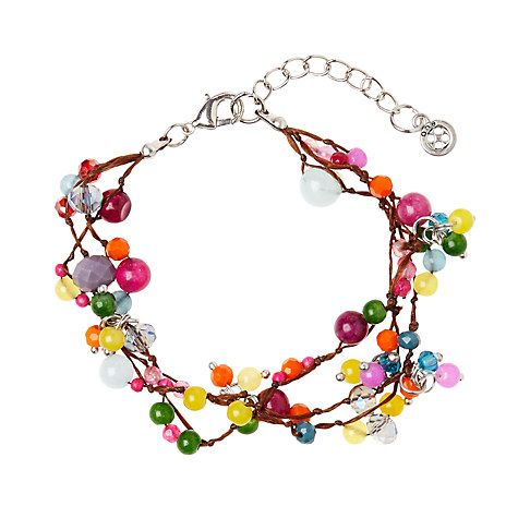 Buy One Button Triple Row Mini Glass Beads Bracelet, Orange/Multi Online at johnlewis.com