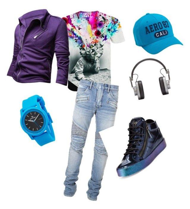 """streetwear men"" by beyou-imagocoach on Polyvore featuring Balmain, Giuseppe Zanotti, Rip Curl, Master & Dynamic, Aéropostale, men's fashion and menswear"