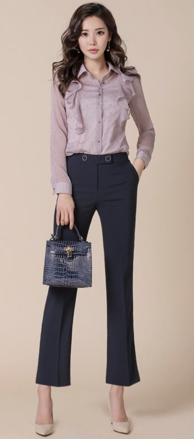 StyleOnme_Twin Button Straight Leg Slacks #officelook #dresspants #slacks #koreanfashion #kstyle #kfashion #springtrend #dailylook