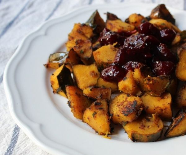 Sauteed Acorn Squash with Paleo Cherry-Maple Cranberry Sauce -- a perfect Thanksgiving-inspired side.