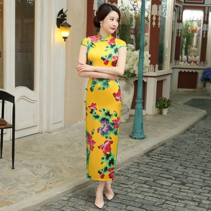 Yellow Cheongsam Long Qipao Dresses Traditional Vestido Oriental Robe Chinoise Chinese Evening Gown Silk Gold Vintage Qi Pao