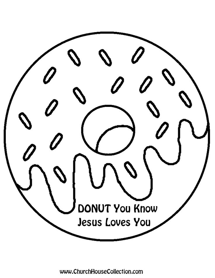 Donut Printable Template Black and White Clipart Image Coloring Page Kids Kindergarten Preschool Free Donut You Know Jesus Loves You Cutout....