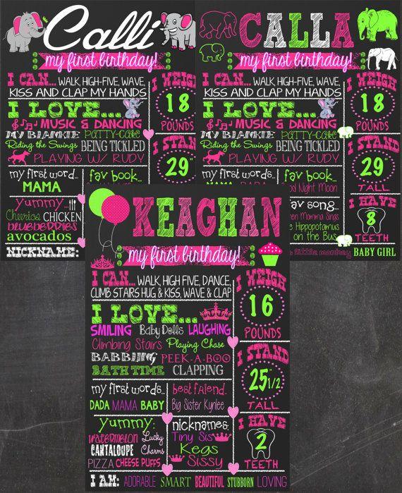 1st birthday chalkboard elephant cupcakes by CustomPrintablesNY, $22.00