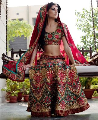 Bridal lehenga - pink with floral embroidery
