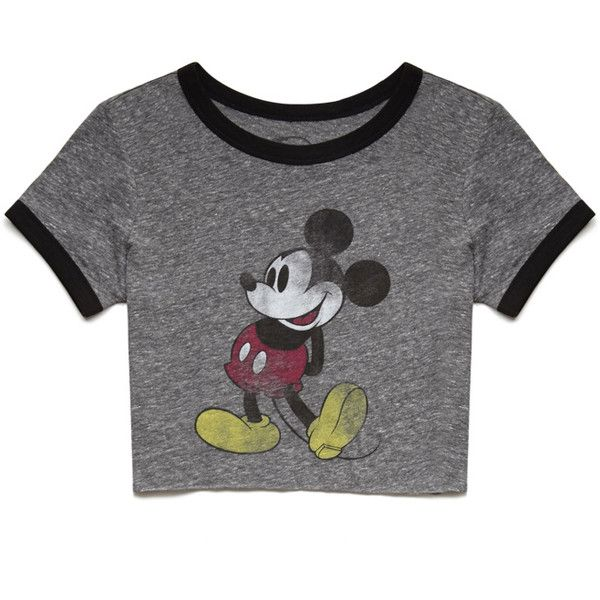 Forever 21 Heathered Mickey Mouse Tee ($9.99) ❤ liked on Polyvore featuring tops, t-shirts, shirts, crop tops, graphic shirts, forever 21 shirts, round neck t shirt, crop t shirt and t shirts